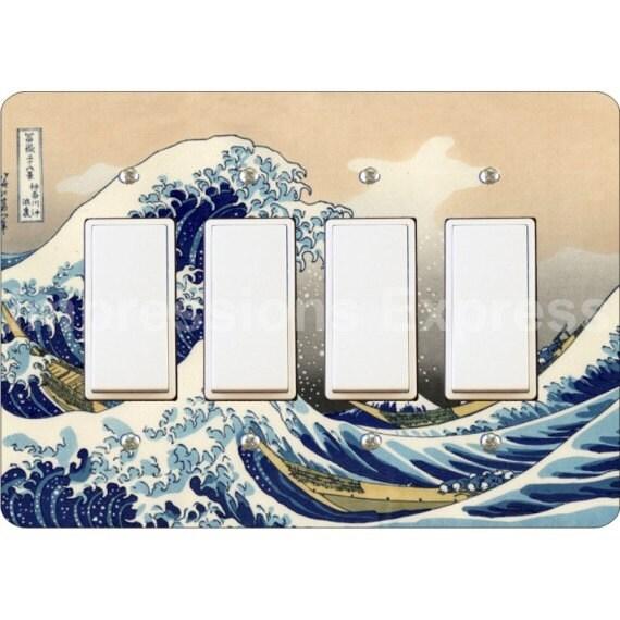 Kanagawa Great Wave Hokusai Painting Quadruple Decora Rocker Light Switch Plate Cover