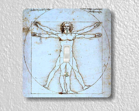 Vitruvian Man Da Vinci Drawing Square Single Toggle Light Switch Plate Cover