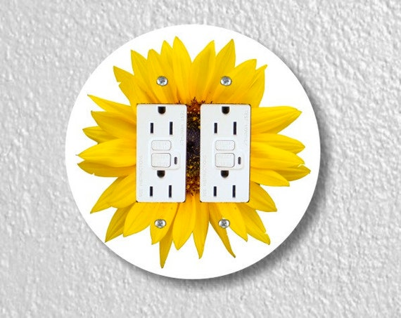 Sunflower Flower Round Double GFI Grounded Outlet Plate Cover