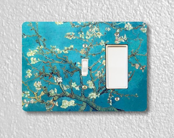 Almond Branches Van Gogh Painting - Precision Laser Cut Toggle and Decora Rocker Double Light Switch Plate Cover - Home Decor - Wall Plate