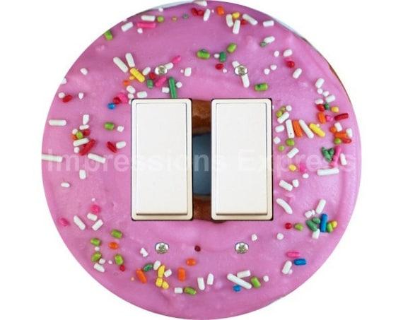 Pink Doughnut Decora Double Rocker Switch Plate Cover