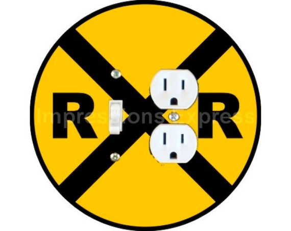 Railroad Crossing Sign Toggle Switch and Duplex Outlet Double Plate Cover