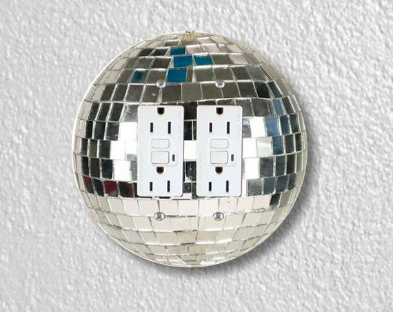 Disco Ball Round Double GFI Grounded Outlet Plate Cover
