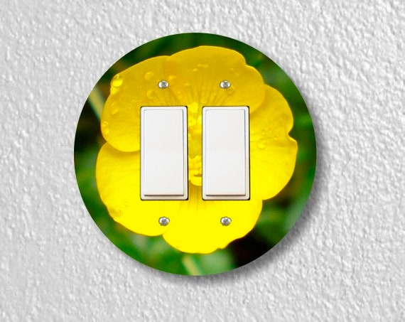 Buttercup Flower Round Decora Double Rocker Switch Plate Cover