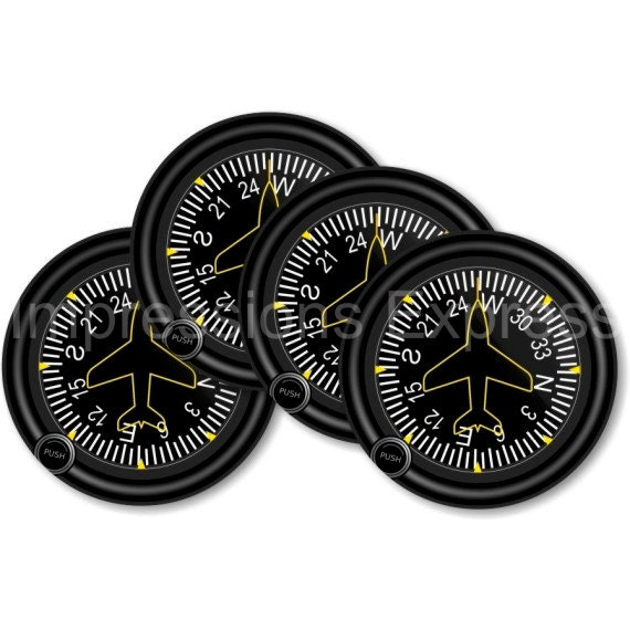 Direction Heading Indicator Aviation Coasters - Set of 4