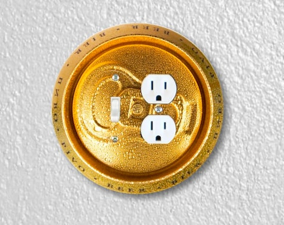 Beer Can Round Toggle Switch and Duplex Outlet Double Plate Cover