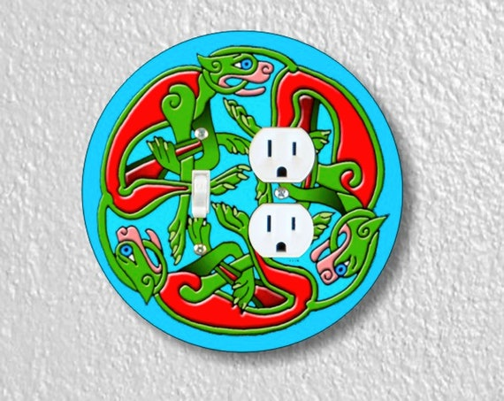 Celtic Dragon Precision Laser Cut Round Toggle Switch and Duplex Outlet Double Wall Plate Cover