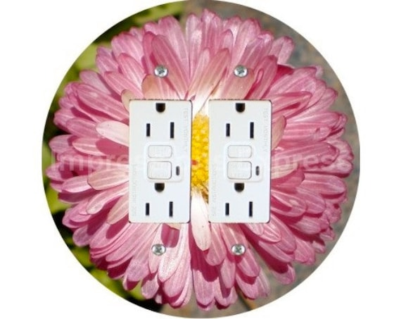 Pink Daisy Flower Double GFI Outlet Plate Cover