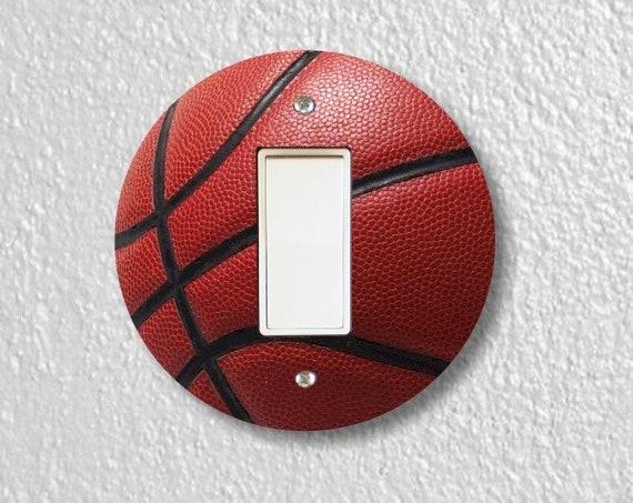 Burgundy Basketball Sport Round Decora Rocker Switch Plate Cover