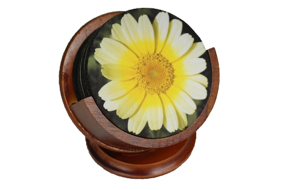 Yellow Daisy Flower Coaster Set of 8 Neoprene Backed with Cherry Colored Pedestal Wood Holder