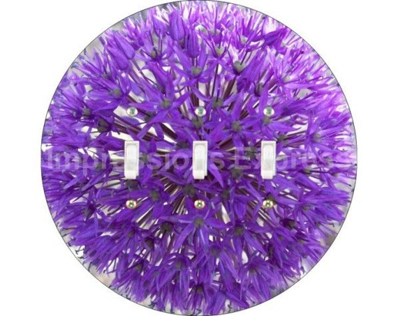 Purple Allium Flower Triple Toggle Switch Plate Cover