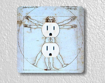 Vitruvian Man Da Vinci Precision Laser Cut Duplex and Grounded Outlet Square Wall Plate Covers