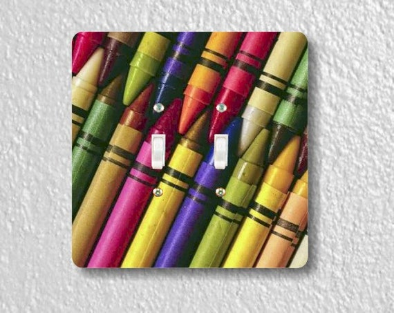 Colored Crayons Square Double Toggle Light Switch Plate Cover
