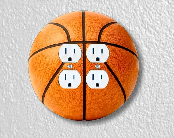 Orange Basketball Round Double Duplex Outlet Plate Cover