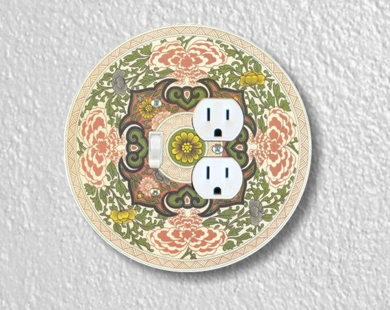 Chinese Ornament Round Toggle Switch and Duplex Outlet Double Plate Cover