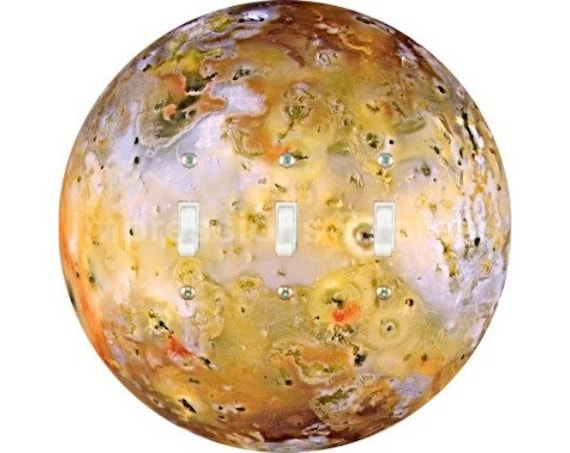Jupiter Moon Io Space Triple Toggle Switch Plate Cover