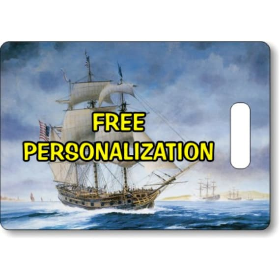 USS Ranger Tall Sailing Ship Nautical Personalized Rectangle Luggage Tote Bag Tag