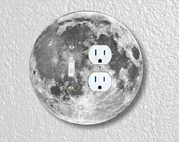 Moon from Space Round Toggle Switch and Duplex Outlet Double Plate Cover