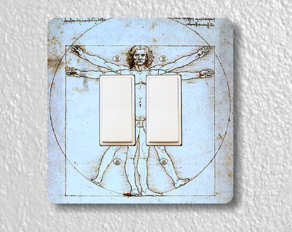 Vitruvian Man Da Vinci Drawing Square Double Decora Rocker Light Switch Plate Cover