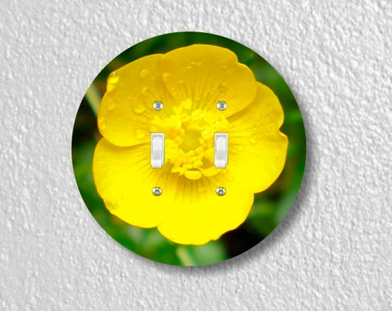 Buttercup Flower Round Double Toggle Switch Plate Cover