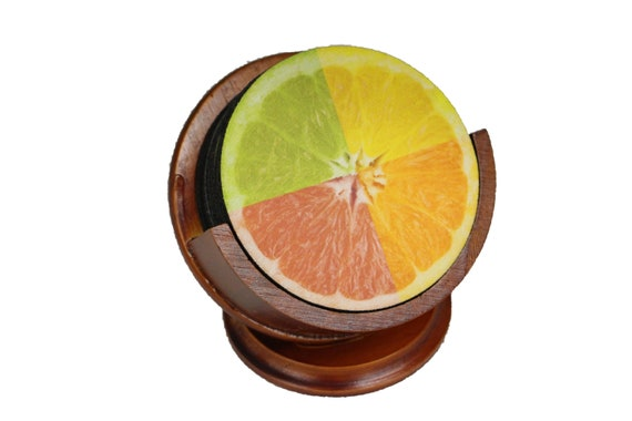 Funky Grapefruit Fruit Coaster Set of 8 Neoprene Backed with Cherry Colored Pedestal Wood Holder