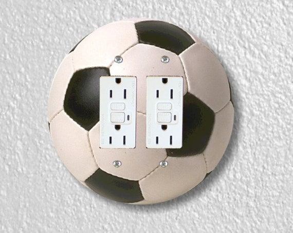 Soccer Sports Ball Round Double Grounded GFI Outlet Plate Cover