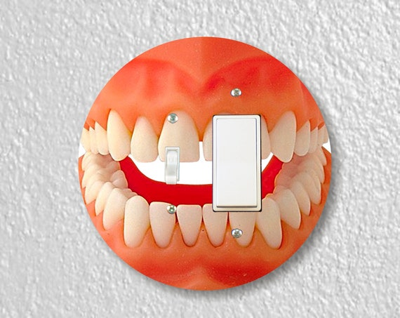 Teeth Precision Laser Cut Round Toggle and Decora Rocker Light Switch Wall Plate Cover