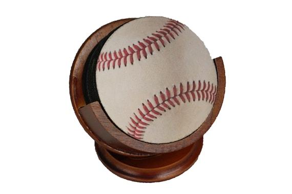 White Baseball Coaster Set of 8 Neoprene Backed with Cherry Colored Pedestal Wood Holder