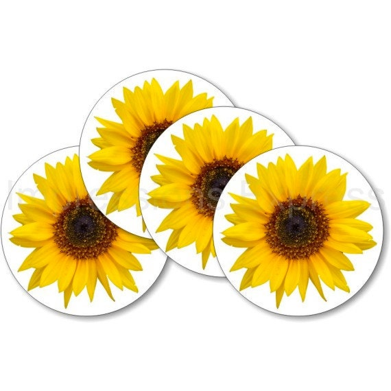 Sunflower Flower Coasters - Set of 4