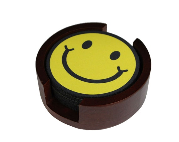 Smiling Face Coaster Set of 5 with Wood Holder
