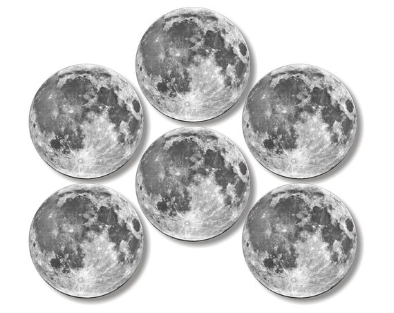 Glossy Moon From Space Round Cork Backed Coasters (Set of 6)