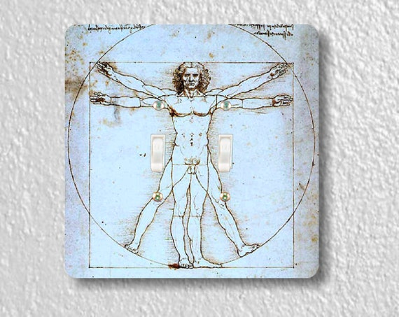 Vitruvian Man Da Vinci Drawing Square Double Toggle Light Switch Plate Cover