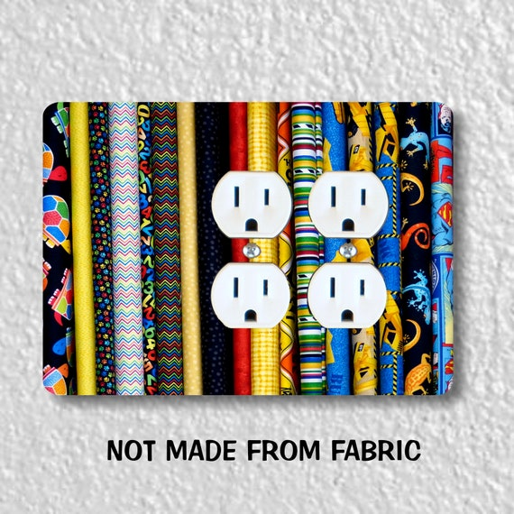 Quilt Fabric Double Duplex Outlet Plate Cover