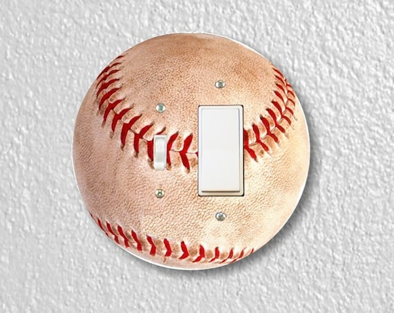 Baseball Ball - Precision Laser Cut Round Toggle and Decora Rocker Light Switch Plate Cover - Home Decor - Wall Plate