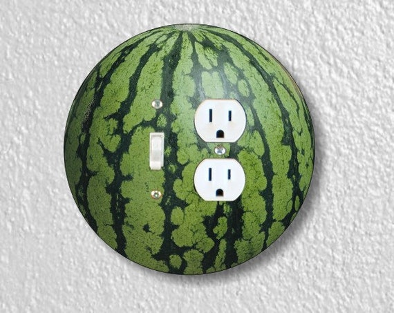 Watermelon Fruit Round Toggle Switch and Duplex Outlet Double Plate Cover