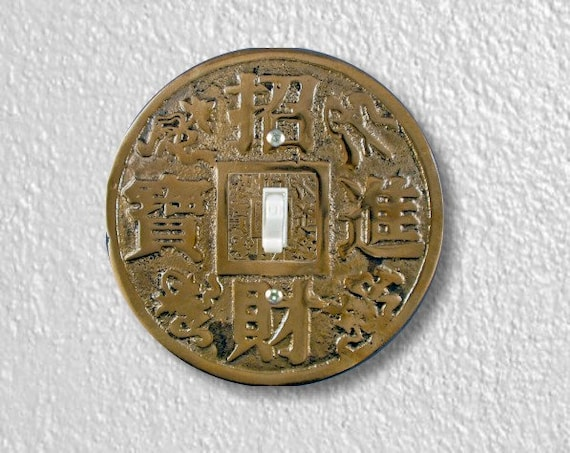 Chinese Fortune Coin Round Single Toggle Switch Plate Cover