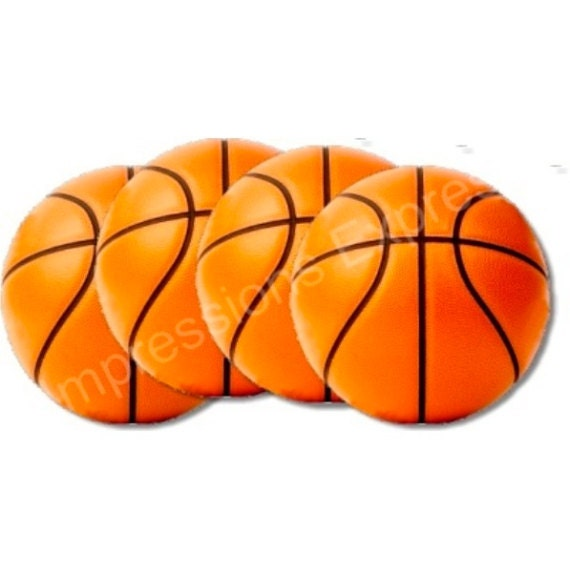 Burnt Orange Basketball Coasters - Set of 4