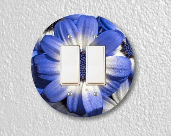 Blue Daisy Flower Round Decora Double Rocker Switch Plate Cover