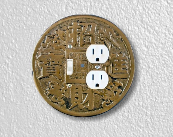 Precision Laser Cut Round Toggle Switch and Duplex Outlet Double Plate Cover - Chinese Fortune Coin - Home Decor - Wallplates