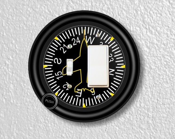 Direction Heading Indicator Aviation Precision Laser Cut Toggle and Decora Rocker Round Switch Wall Plate Cover