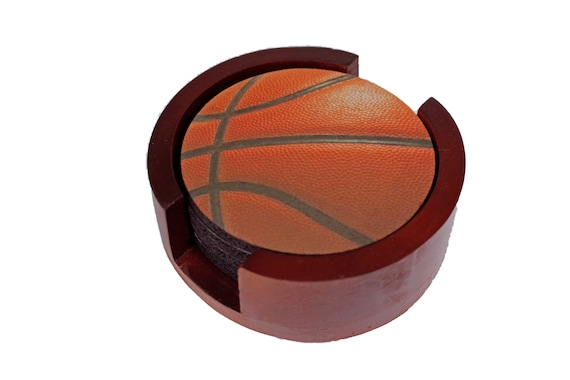 Burgundy Basketball Coaster Set of 5 with Wood Holder