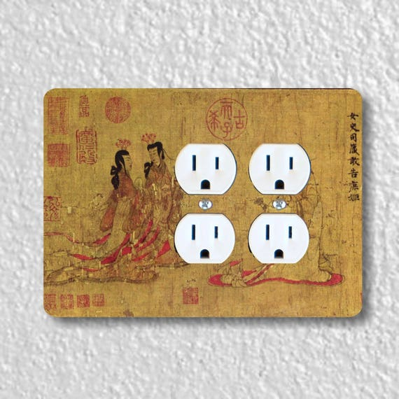 Admonitions Scroll Chinese Painting Double Duplex Outlet Plate Cover