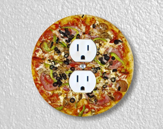 Supreme Pizza Precision Laser Cut Duplex and Grounded Outlet Round Wall Plate Covers