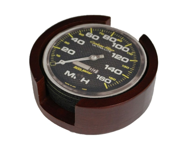 Car Speedometer Coaster Set of 5 with Wood Holder