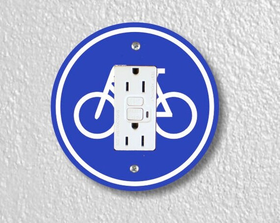 Bicycle Sign Round Grounded GFI Outlet Plate Cover