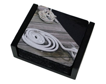 Nautical Tie Up Rope Square Coaster Set of 5 with Wood Holder