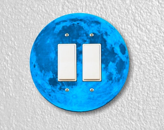 Blue Moon Round Decora Double Rocker Switch Plate Cover