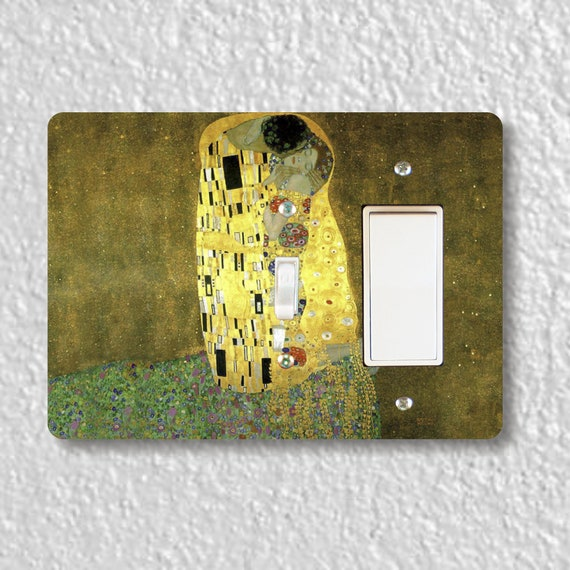 Precision Laser Cut Toggle and Decora Rocker Double Light Switch Plate Cover - Klimt The Kiss Painting - Home Decor - Wallplate