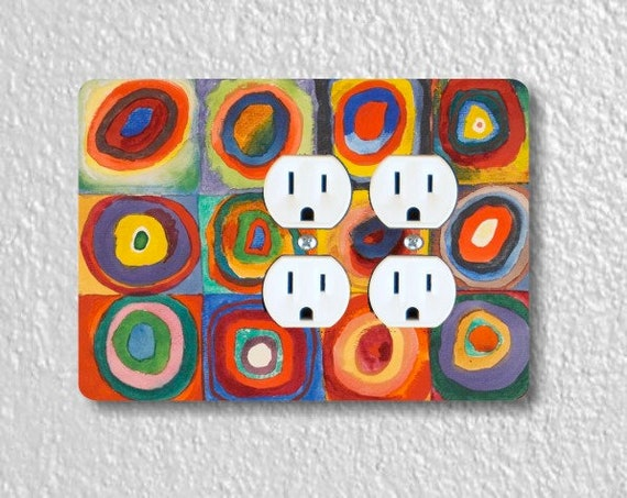 Kandinsky Squares With Concentric Circles Painting Double Duplex Outlet Plate Cover