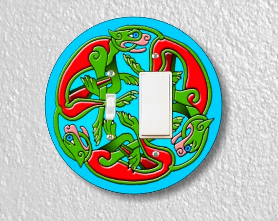 Celtic Dragon Round Toggle and Decora Rocker Light Switch Plate Cover